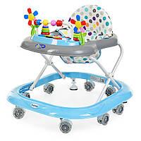Детские Ходунки со съемной музыкальной панелью и мягким сиденьем, регулировка по высоте, колеса, голубой -