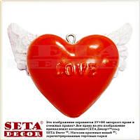 """Подвесное красное сердце с крыльями """"LOVE""""  6х5 см"""