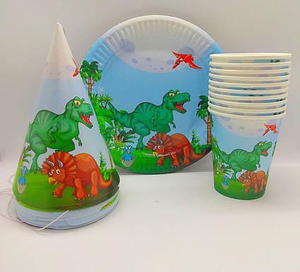 Набор детской одноразовой посуды Динозавры  для дня рождения