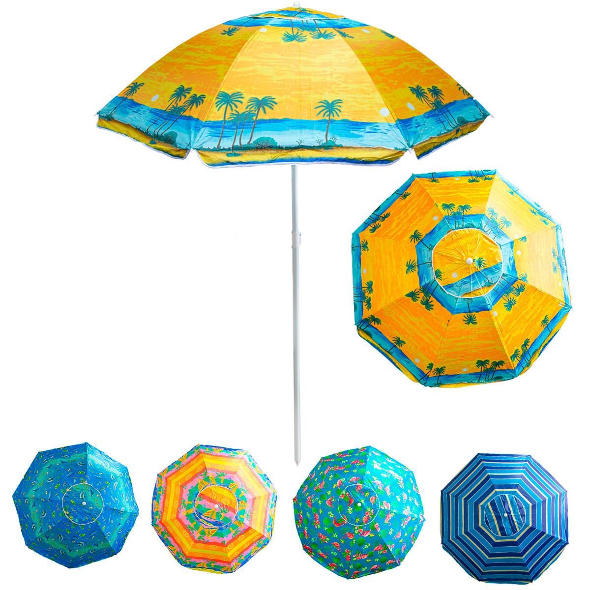"""Парасолька від сонця на пляж """"Stenson - жовта, Пальми"""" 1,8м, парасоля пляжна антивітер з срібним покриттям"""