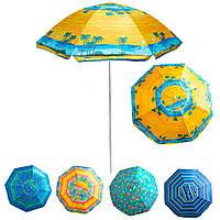 """Парасолька від сонця на пляж """"Stenson - жовта, Пальми"""" 1,8м, парасоля пляжна антивітер з срібним покриттям, фото 1"""