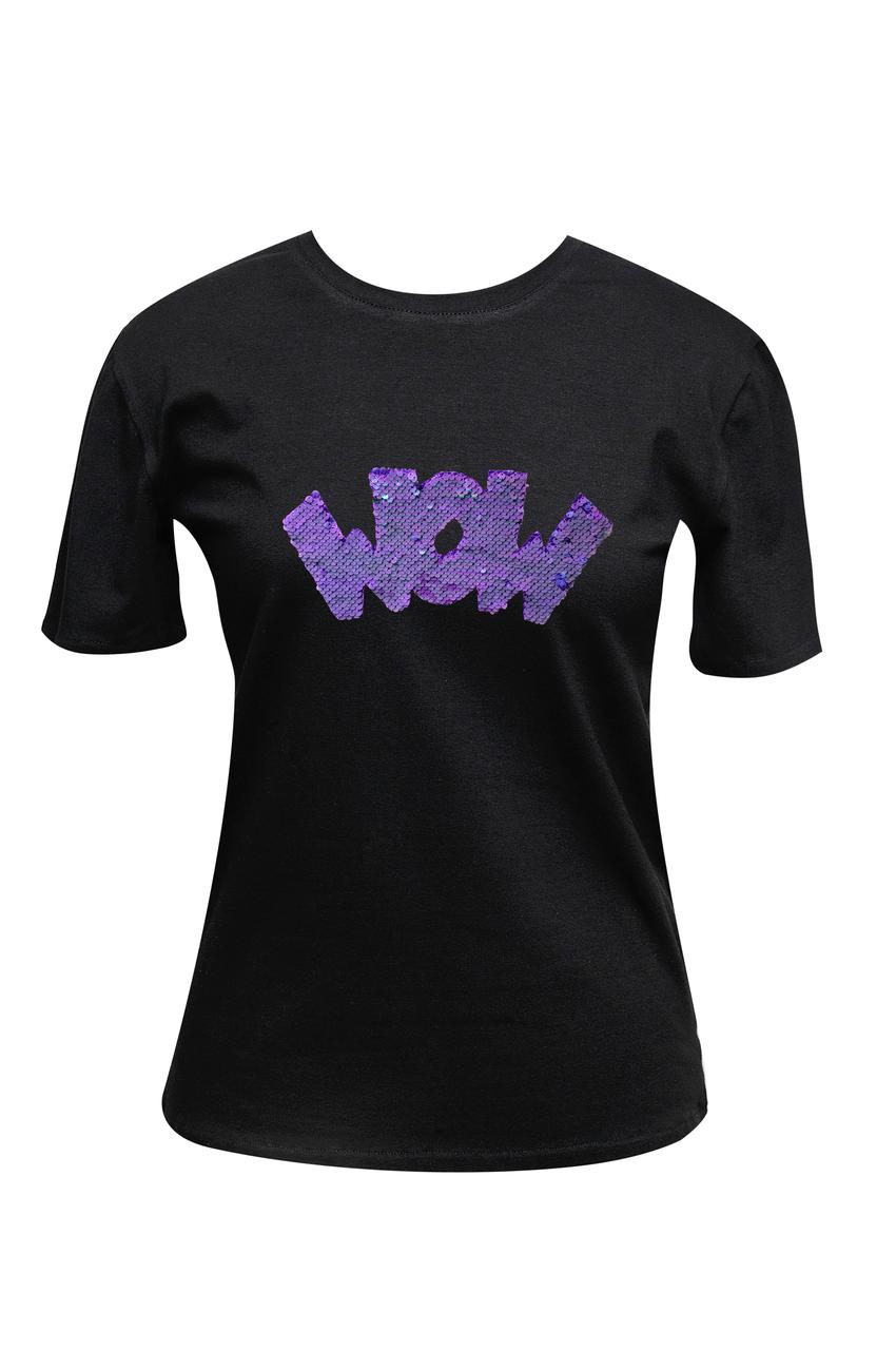 """Футболка женская черная DNA с принтом """"Wow violet"""""""