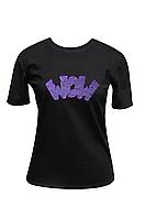 "Футболка жіноча чорна DNA з принтом ""Wow violet"""