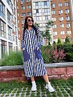 Жіноче смугасте плаття з капюшоном батал, фото 1