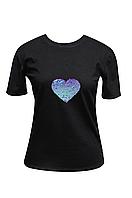 "Футболка жіноча чорна DNA з принтом ""Heart violet"""