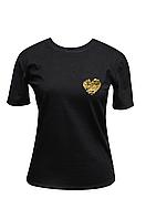 """Футболка женская черная DNA с принтом """"Heart gold"""""""