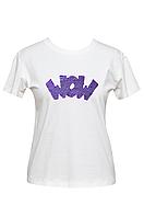 """Футболка жіноча біла DNA з принтом """"Wow violet"""""""