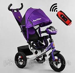 Велосипед для девочки с ручкой для мамы Сиреневый Best Trike 3390 надувные колеса, фара с USB, пульт