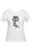 """Футболка женская белая DNA с принтом """"Owl"""""""