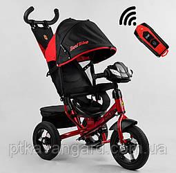 Велосипед с ручкой для родителей Красный Best Trike 3390 надувные колеса, фара с USB, пульт