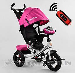 Велосипед для девочки с ручкой для мамы Розовый Best Trike 3390 надувные колеса, фара с USB, пульт