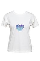 """Футболка женская белая DNA с принтом """"Heart Violet"""""""