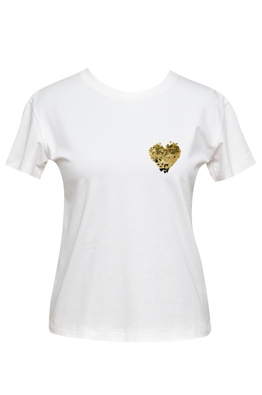 """Футболка женская белая DNA с принтом """"Heart Gold 2"""""""