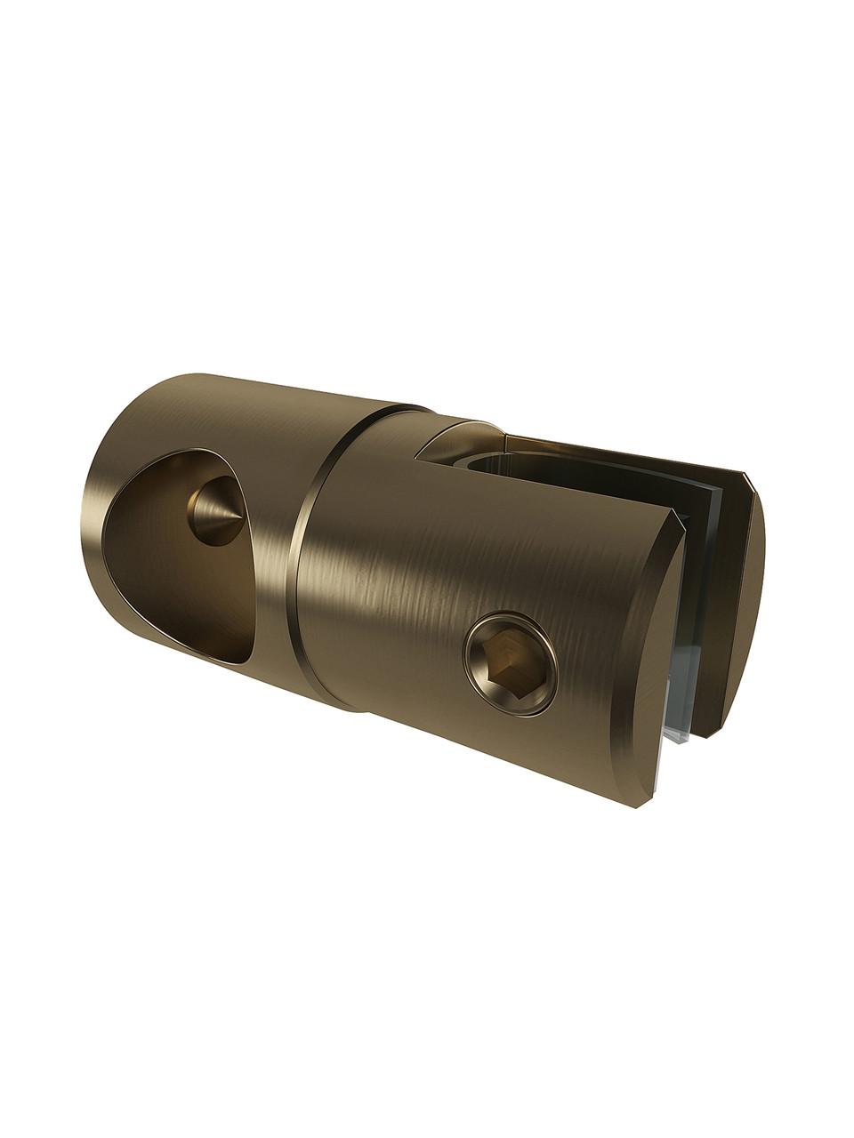 ODF-09-17-30 Крепление душевой штанги  16 мм для стекла накидное, регулируемое, глухое, цвет матовая бронза