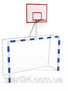 Ворота с баскетбольным щитом из фанеры с удлиненными штангами и стаканами под бетонирование