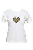 """Футболка женская белая DNA с принтом """"Heart Gold"""""""