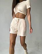 Легкий летний костюм женский с шортами и топом с перекрестом, фото 3