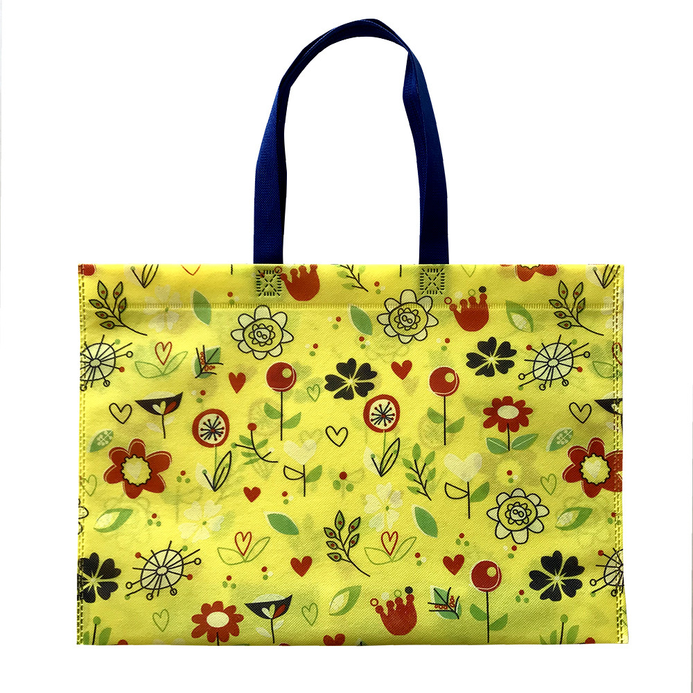 "Екосумка з друком ""Квітки, чотири кольори"" 500 х 315 мм жовта (спанбонд)"