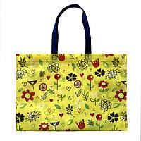 "Екосумка з друком ""Квіти, чотрири кольори"" 395 х 315 мм жовта (спанбонд), фото 1"