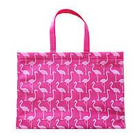 "Экосумка с печатью ""Фламинго"" 395 х 315 мм розовая (спанбонд), фото 1"