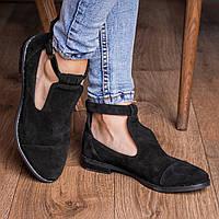 Жіночі чорні закриті туфлі з натуральної замші. Розміри 36-41, фото 1