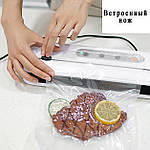 Вакууматор пакувальник їжі з пакетами Wi-simple 6611 з вбудованим ножем. Новинка вакуумний пакувальник для дому, фото 2