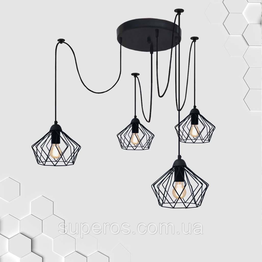 Подвесная люстра на 4-лампы CARAVAN/SP-4 E27 чёрный