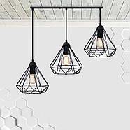 Підвісна люстра на 3-лампи DIAMOND-3 E27 чорний, фото 2