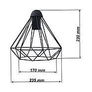 Підвісний світильник на 1-лампу DIAMOND/SP E27 чорний, фото 3