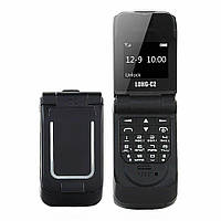 Маленький мобільний телефон розкладушка LONG-CZ J9 чорний, фото 1