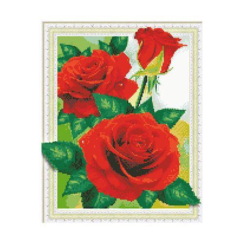 """Алмазна мозаїка """"Червоні дикі троянди"""" FT30037 40х50 см"""