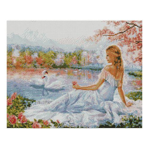 """Алмазна мозаїка """"Дівчина і лебеді"""" FA40058 40х50 см"""