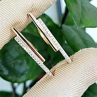Сережки Xuping довжина 3см медзолото позолота 18К цирконій с1065, фото 1