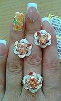 Серебряный комплект серьги и кольцо с золотыми вставками, фото 1