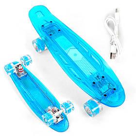Скейт Пенні борд Best Board S-20855 (прозора дека зі світлом, підсвічування, USB зарядка) Бірюзовий