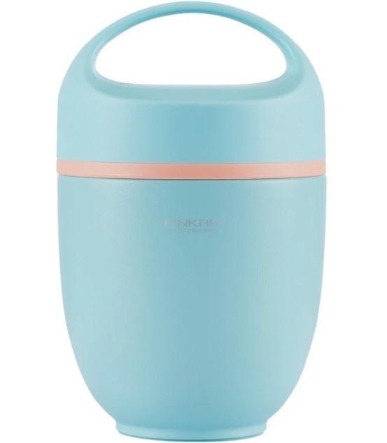 Пищевой термобокс Pinkah PJ-3333-L, 820 мл, со складной ложкой, голубой