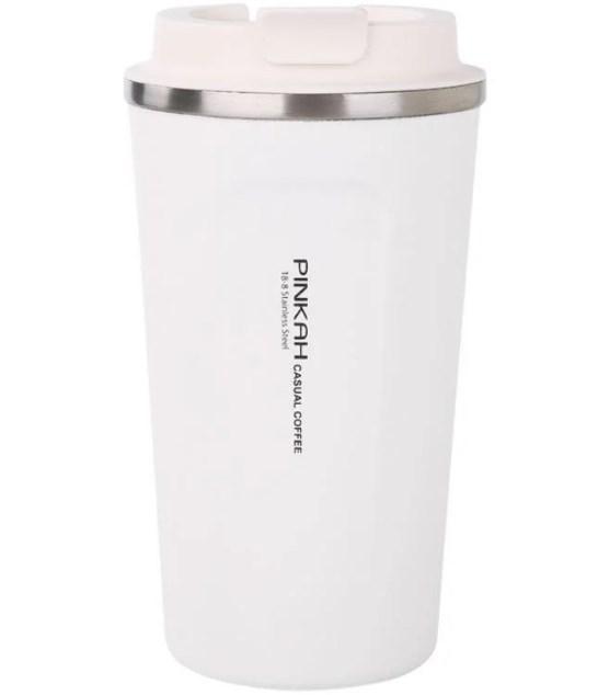 Термокружка белая Pinkah PJ-3549, 510 мл, пластиковая крышка с клапаном