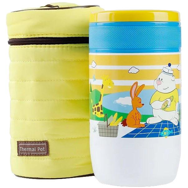 Детский термос для еды Pinkah TMY-3335, 500 мл, разноцветный, складная ложка, желтый чехол
