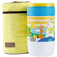Детский термос для еды Pinkah TMY-3335, 500 мл, разноцветный, складная ложка, желтый чехол, фото 1