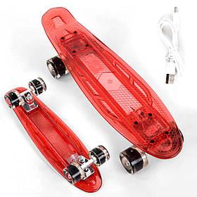 Скейт Пенні борд Best Board S-30966 (прозора дека зі світлом, підсвічування, USB зарядка) Червоний