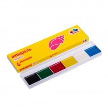 Акварельные краски 6 цветов в картонной упаковке Гамма Малята