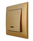 """Вимикач одноклавішний з LED підсвічуванням прохідний серія """"IDEAL GOLD"""" ТМ""""MARSHEL"""""""