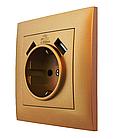 """Розетка подвійна з заземленням та двома USB портами серія """"IDEAL GOLD"""" ТМ""""MARSHEL"""""""