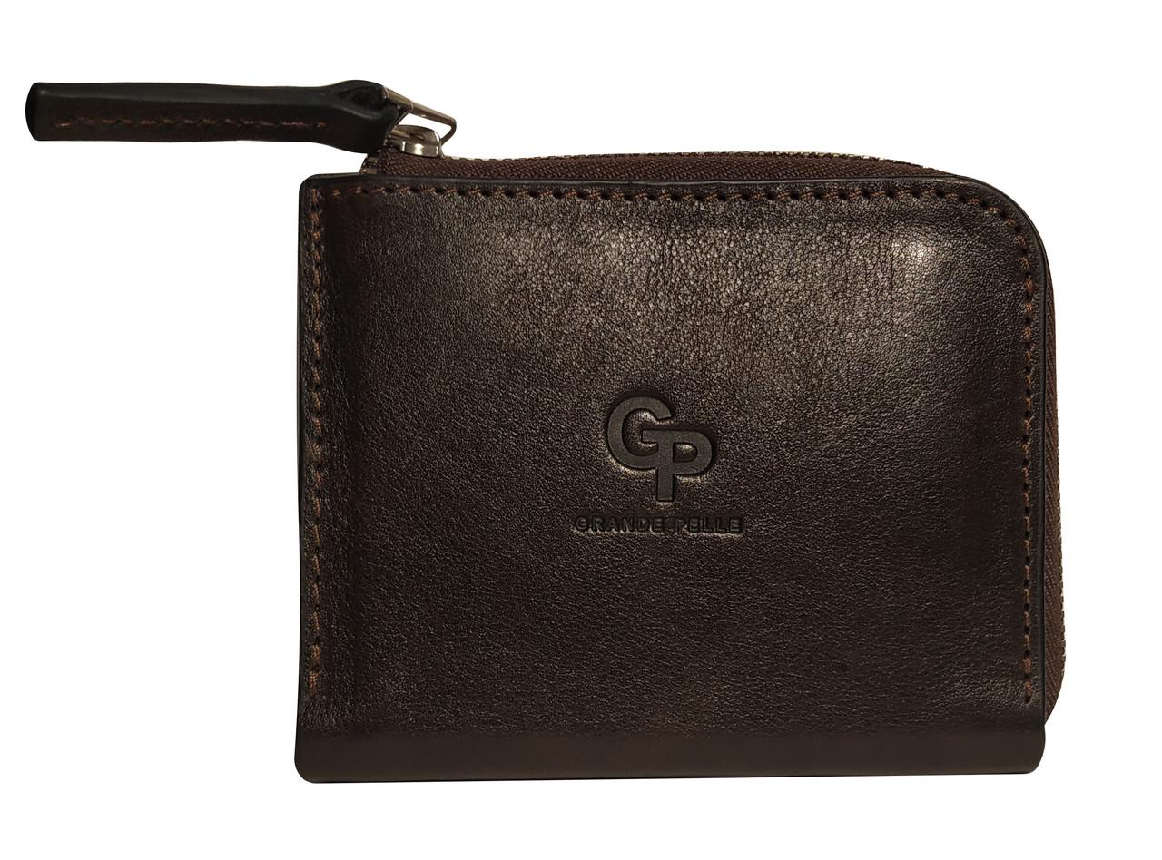Чоловіче портмоне Grande Pelle з натуральної шкіри, гаманець з монетницею, коричневий колір, глянцева
