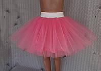Дитяча спідничка з фатину, на резинці, без стрічок, рожева