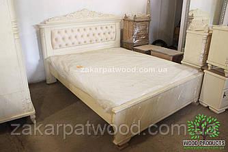 """Ліжко масив дерев""""яна дуб (різьба) 2,0м х 1,60м"""