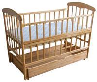 Кровать Наталка с откидной боковиной, маятником и ящиком Ясень натуральный