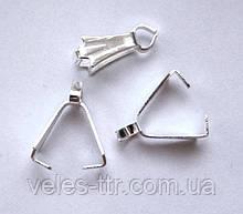 Держатель зажим для кулона 10х4 мм Серебро