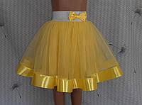 Дитяча спідничка з фатину, на резинці, жовта, фото 1