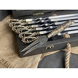Шампура Бриз в розписному кейсі з бука. Шампура +вилка, фото 3